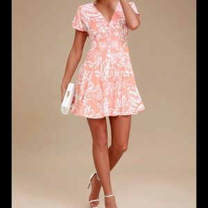 MINKPINK Tropical Floral Button Up Peach Dress